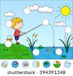 boy fisherman with fishing rod... | Shutterstock .eps vector #394391248