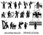 orchestra symphony musicians... | Shutterstock .eps vector #394413106