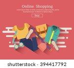 online shopping banner concept... | Shutterstock .eps vector #394417792