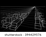 abstract linear architectural... | Shutterstock .eps vector #394429576