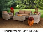 rattan garden furniture | Shutterstock . vector #394438732