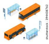 isometric bus stop. flat 3d... | Shutterstock .eps vector #394438762
