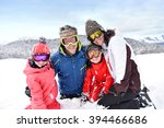 parents with kids throwing... | Shutterstock . vector #394466686