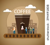 vector illustration of a coffee ... | Shutterstock .eps vector #394491808