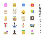 easter flat color icons   Shutterstock .eps vector #394498126