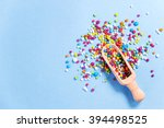 Small photo of Wood scoop with colorful eatable sugar pearls.Useful for food,sweet background presentation