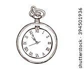 open pocket watch in vintage ... | Shutterstock .eps vector #394501936