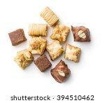 sweet baklava dessert on white... | Shutterstock . vector #394510462