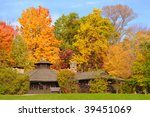 Rustic park shelter in Cuyahoga Valley National Park with brilliant autumn foliage - stock photo