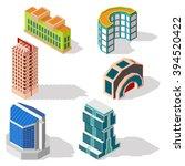 isometric building set  modern... | Shutterstock .eps vector #394520422