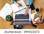 stylish young girl working ... | Shutterstock . vector #394522672