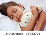 sleeping little asian girl - stock photo