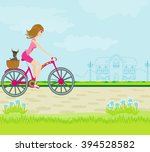 happy driving bike with cute... | Shutterstock . vector #394528582