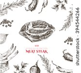 vector meat steak hand drawn... | Shutterstock .eps vector #394544266