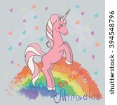 vector card with cute unicorn ... | Shutterstock .eps vector #394548796