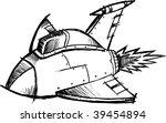 doodle sketchy fighter jet... | Shutterstock .eps vector #39454894