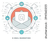 flat line e mail marketing... | Shutterstock .eps vector #394560355