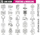 thin line icons set of 3d... | Shutterstock .eps vector #394572262