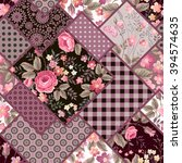 seamless patchwork floral... | Shutterstock .eps vector #394574635