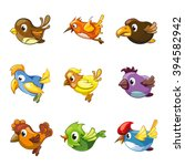 funny birds icons. cartoon cute ...