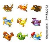 funny birds icons. cartoon cute ...