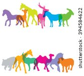 colorful of silhouette animals  ... | Shutterstock .eps vector #394584622