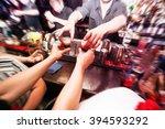 bartender gives ready cocktails.... | Shutterstock . vector #394593292