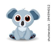 sitting cute little koala bear... | Shutterstock . vector #394594012