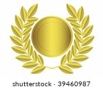 Gold Laurel Wreath.vector...