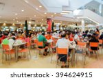 blurry food court at supermarket/mall for background