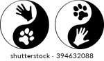 yin yang symbol with paw and... | Shutterstock .eps vector #394632088