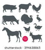 vector set of farm animals cow  ... | Shutterstock .eps vector #394638865
