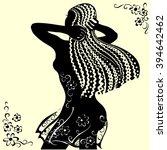 beautiful dark skinned woman.... | Shutterstock .eps vector #394642462