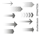 Set Of Dotted Arrows. Halftone...