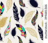 feather tribal seamless pattern.... | Shutterstock .eps vector #394681366