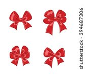 red shiny gift bows collection... | Shutterstock . vector #394687306