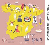 cartoon map of spain with... | Shutterstock .eps vector #394697812