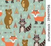 tribal seamless pattern with... | Shutterstock .eps vector #394699936