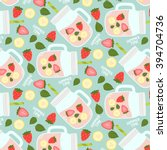 cute pattern with smoothies ... | Shutterstock .eps vector #394704736