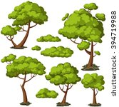 set of funny cartoon trees and... | Shutterstock .eps vector #394719988