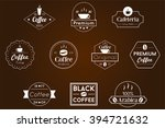 coffee badge white vector logos | Shutterstock .eps vector #394721632