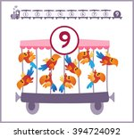 train with numbers and animals... | Shutterstock .eps vector #394724092