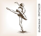 ballet dancer girl sketch style ... | Shutterstock .eps vector #394726228