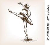 Ballet Dancer Girl Sketch Styl...