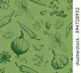 hand drawn seamless set of... | Shutterstock .eps vector #394728952