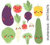 cute cartoon vegetables set.... | Shutterstock .eps vector #394734676