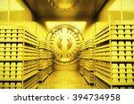 Golden Bank Vault With Gold...