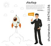 rocket launch. business concept ... | Shutterstock .eps vector #394741156