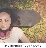 Small photo of Skateboard Relaxation Rest Lying Chill Headphone Concept