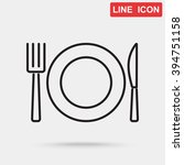 line icon  plate  knife and fork | Shutterstock .eps vector #394751158